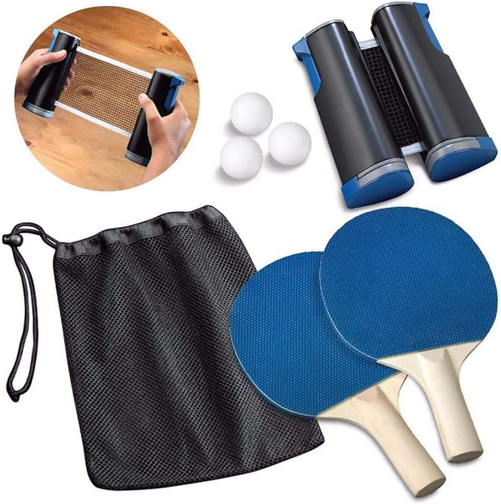 GHSY Juego de Raquetas de Red retráctiles, Redes de Tenis de Mesa retráctiles con 2 Raquetas y 3 Pelotas - Niños Adultos de Interior y Exterior - para la Escuela, el hogar, la Oficina (1 Juego)