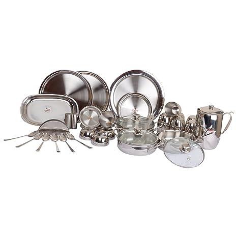 Vinod Two Tone Steel Dinner Set, 55 Piece Dinnerware Sets at amazon