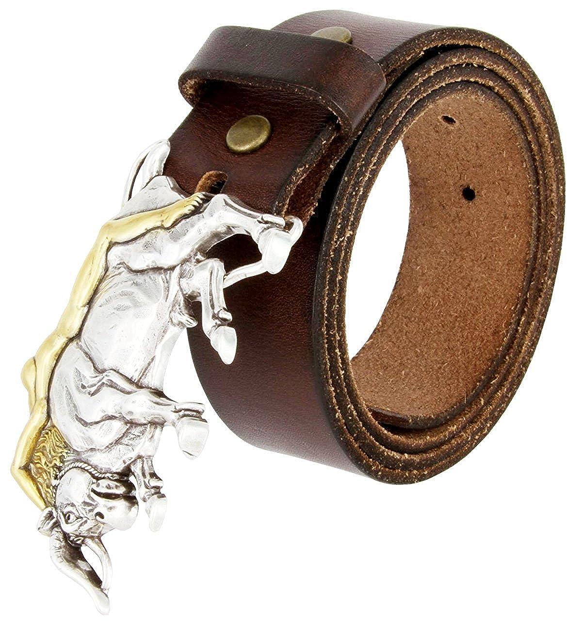 Hagora Men 1.5 Wide Genuine Full Grain Cowhide Silver Lady On Bull Buckle Belt