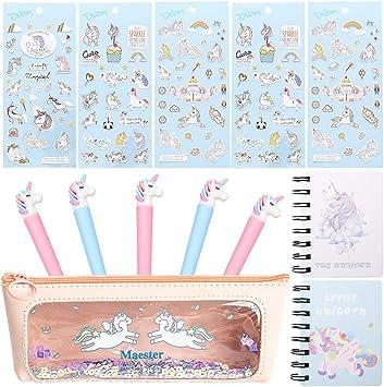 Amycute 13 Piezas Estuche Lápiz Unicornio Set de Papelería Cuaderno Bolígrafo Gel Pegatina Unicornio para Regalo de Cumpleaños de Niños Regalo de la Escolar(Color al Azar): Amazon.es: Juguetes y juegos