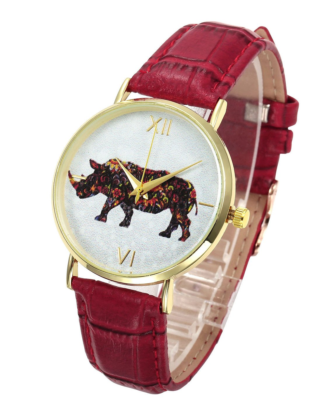Top Plaza Cute Lovely Colorful Animal Pattern Dial PU Leather Band Dress Analog Quatz Wrist Watch Golden Case No Number Casual Watches for Womens Ladies(Red-Rhinoceros)
