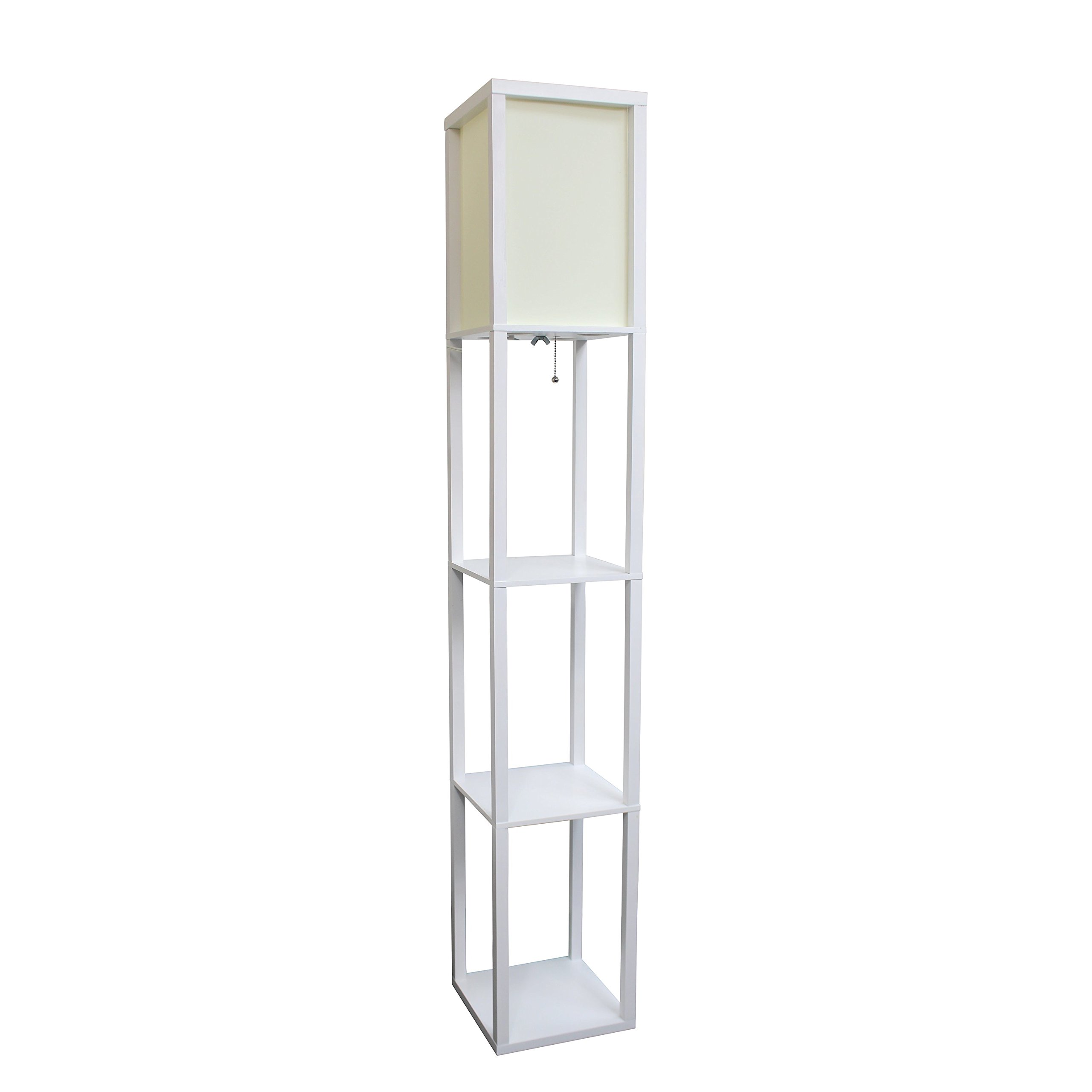 Simple Designs LF1014-WHT Floor Lamp Etagere Organizer Storage Shelf with Linen Shade, White