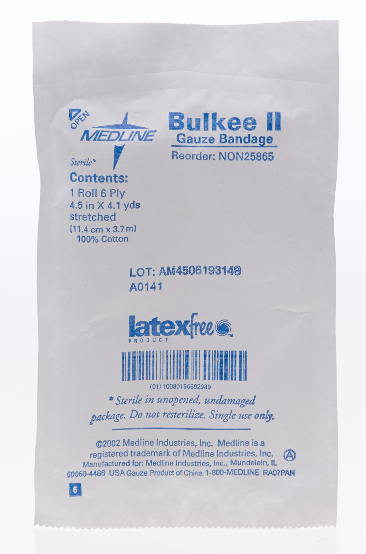 Medline Bandage Gauze Bulkee Ii, 4.5 Inch x 4.1 Yard, 100 Count