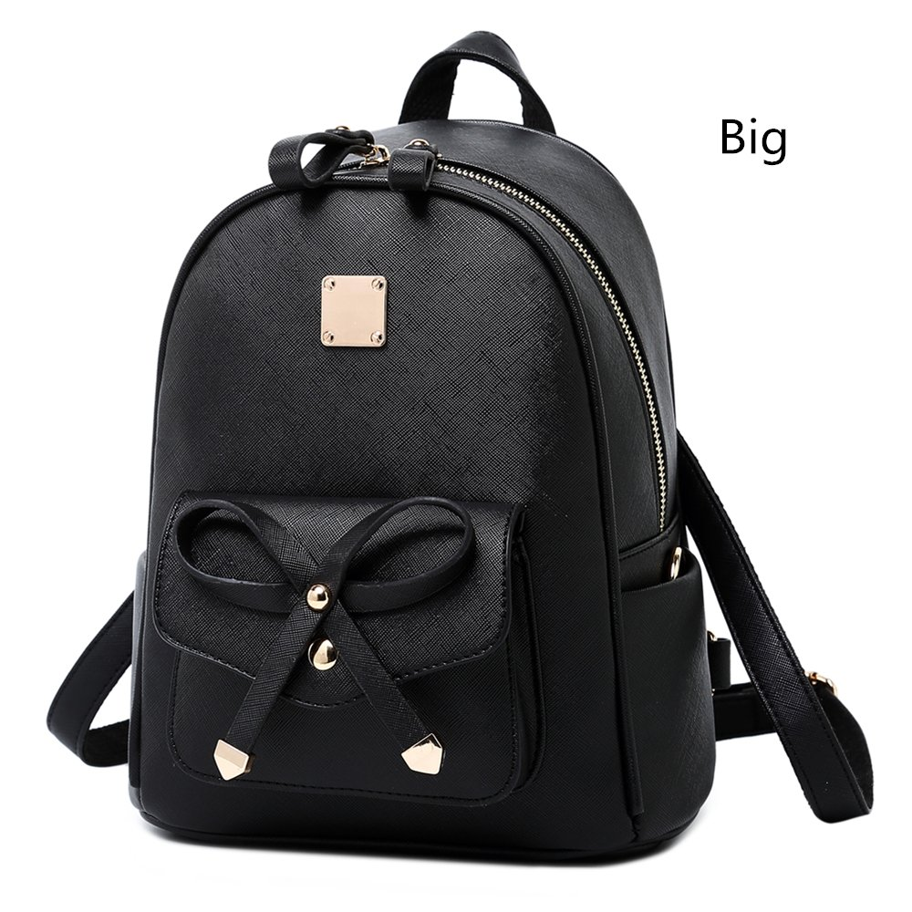 WINK KANGAROO Fashion Shoulder Bag Rucksack PU Leather Women Girls Ladies Backpack Travel bag (Black Big Size)