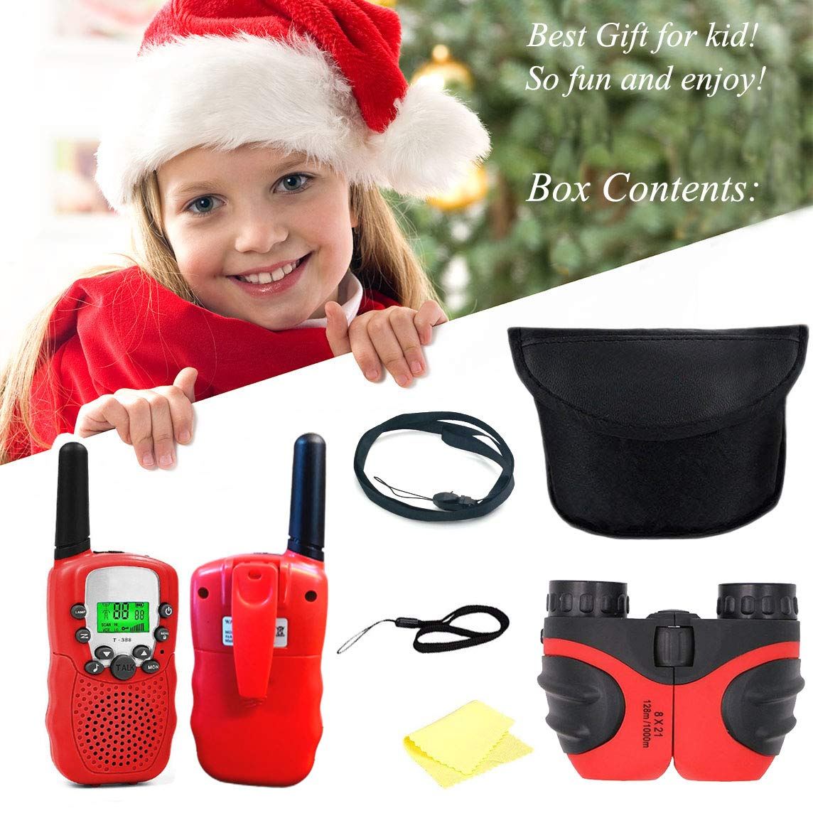 XIYITOY Compact 8x21 Shock Proof Binoculars Toys for 7 8 Year Old Boys, Long Range Kids Walkies Talkies for Outdoor Travel Hunting Boy Gifts Age 3-12 Girls &Gifts Age 3-12(Red) by XIYITOY (Image #7)