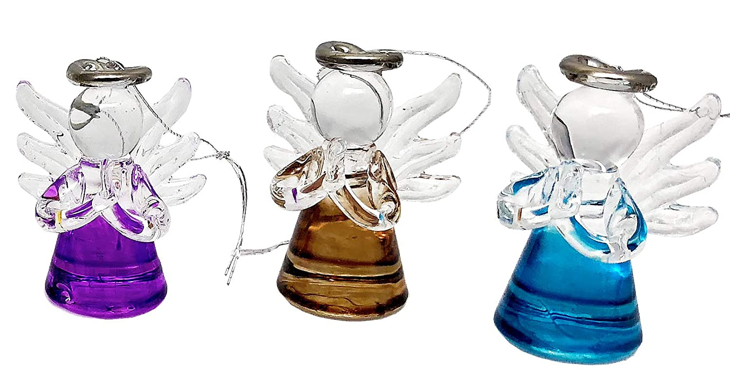 Elysian Gift Shop Beautiful Mini Multi Colored Glass Assorted Angels Christmas Tree Ornaments Pack of 6 Angels Christmas Season Holiday Decorations Hanging Ornaments