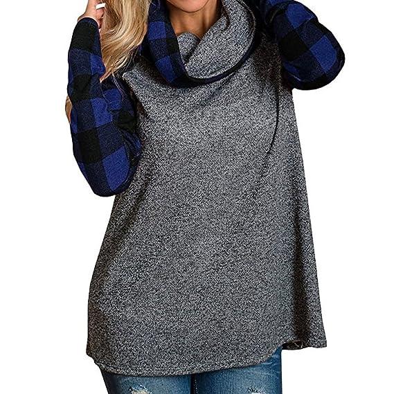 BBsmile Mujer Camiseta Manga Larga Cuello Alto Blusa Tops Sudadera con Capucha otoño Invierno Ropa S