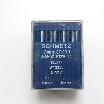 100 Schmetz 135 x 17 dpx17 sy3355 Industrial Agujas para máquina de coser: Amazon.es: Hogar