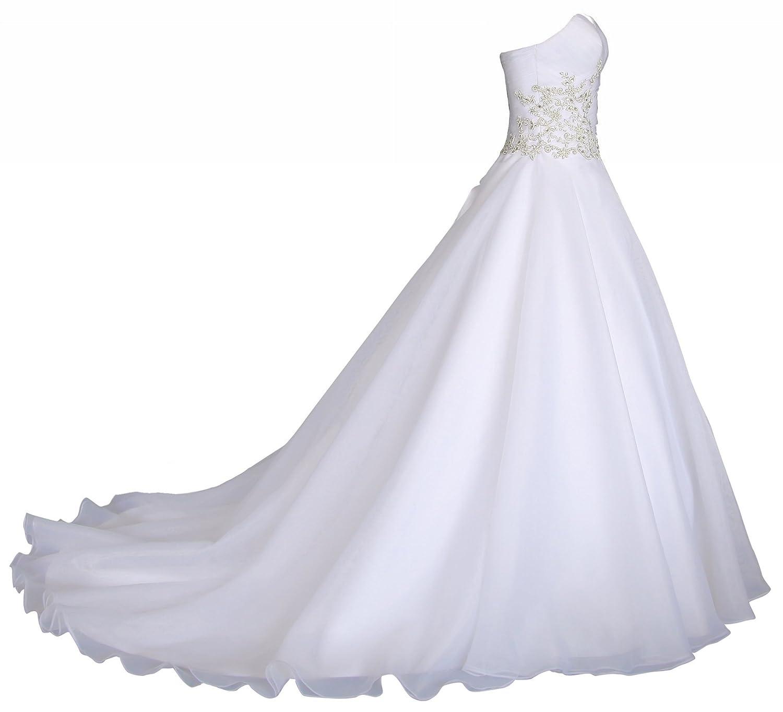 Romantic-Fashion Brautkleid Hochzeitskleid Weiß Modell W031 A-Linie Lang Satin Trägerlos Perlen Strass DE
