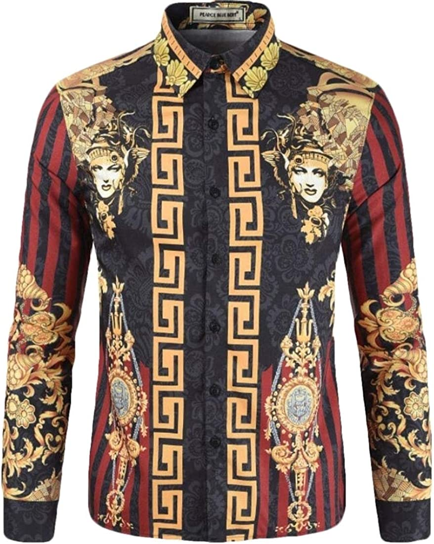 Alion Mens Vintage African Ethnic Printing Long Sleeve Button Front Shirts