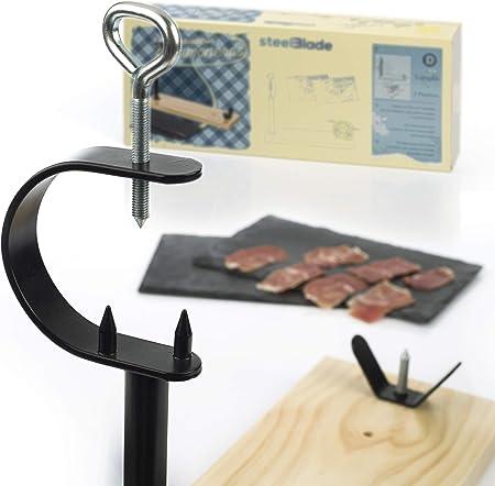 Steelblade - Jamonero en Madera Lacada + Regalo 2 Platos de Pizarra Natural - Soporte Jamonero Fabricado en España - Jamonera Muy Resistente Ideal para Jamones y Paletas.