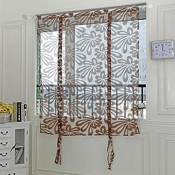 Upxiang 1PCS Romantische Sling Cut Blumen Tür, Vorhang Tulle Fenster  Fensterbearbeitung Transparent, Vorhang Gardine