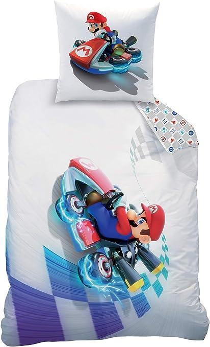 Super Mario Maker - Juego de ropa de cama reversible de franela, 135 x 200 cm + 80 x 80 cm, 100% algodón, diseño de Luigi Peach Bowser Yoshi Toad ...