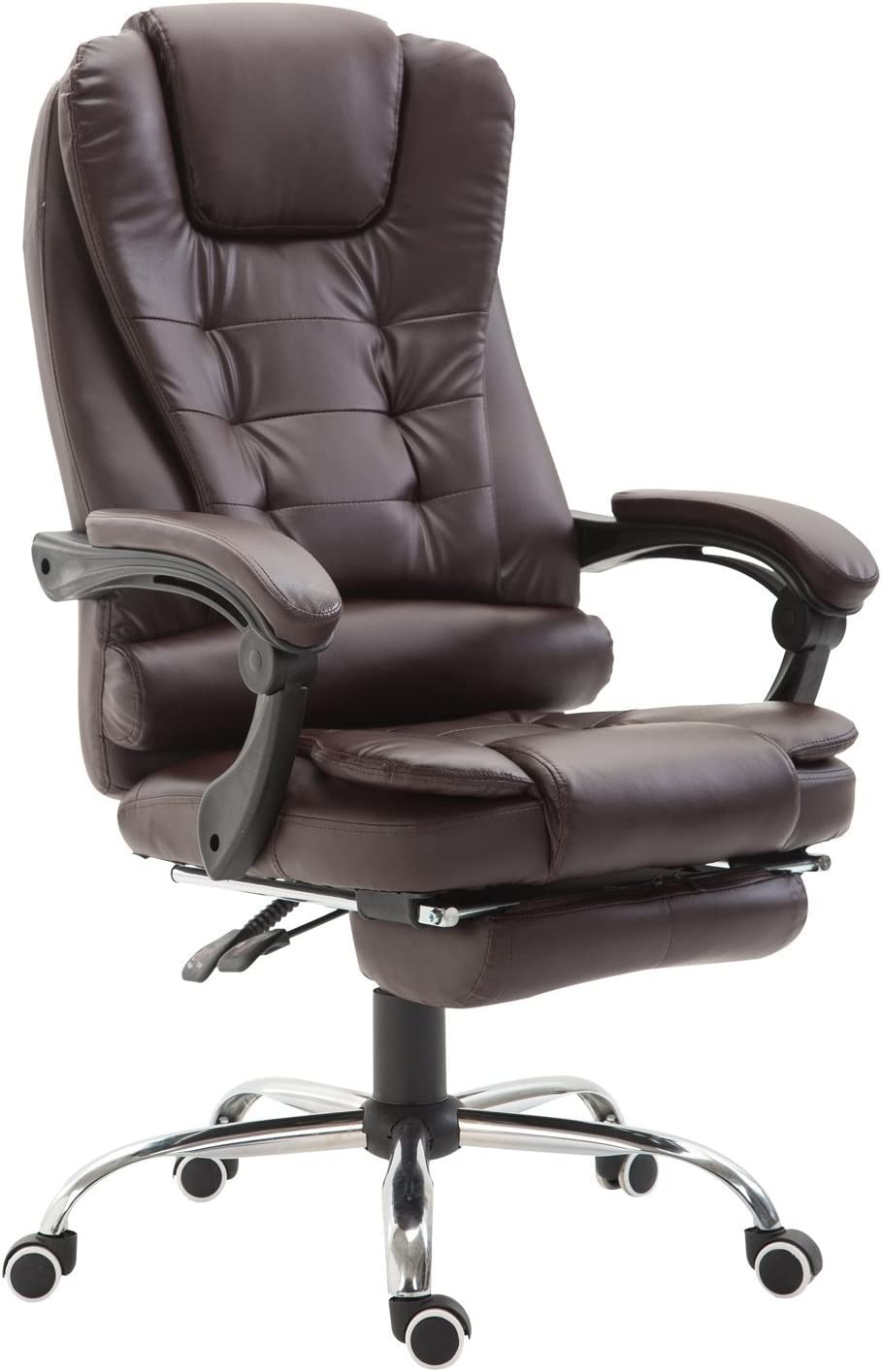 HomCom Reclining PU Leather Executive Home Office Chair with Footrest - Dark Brown