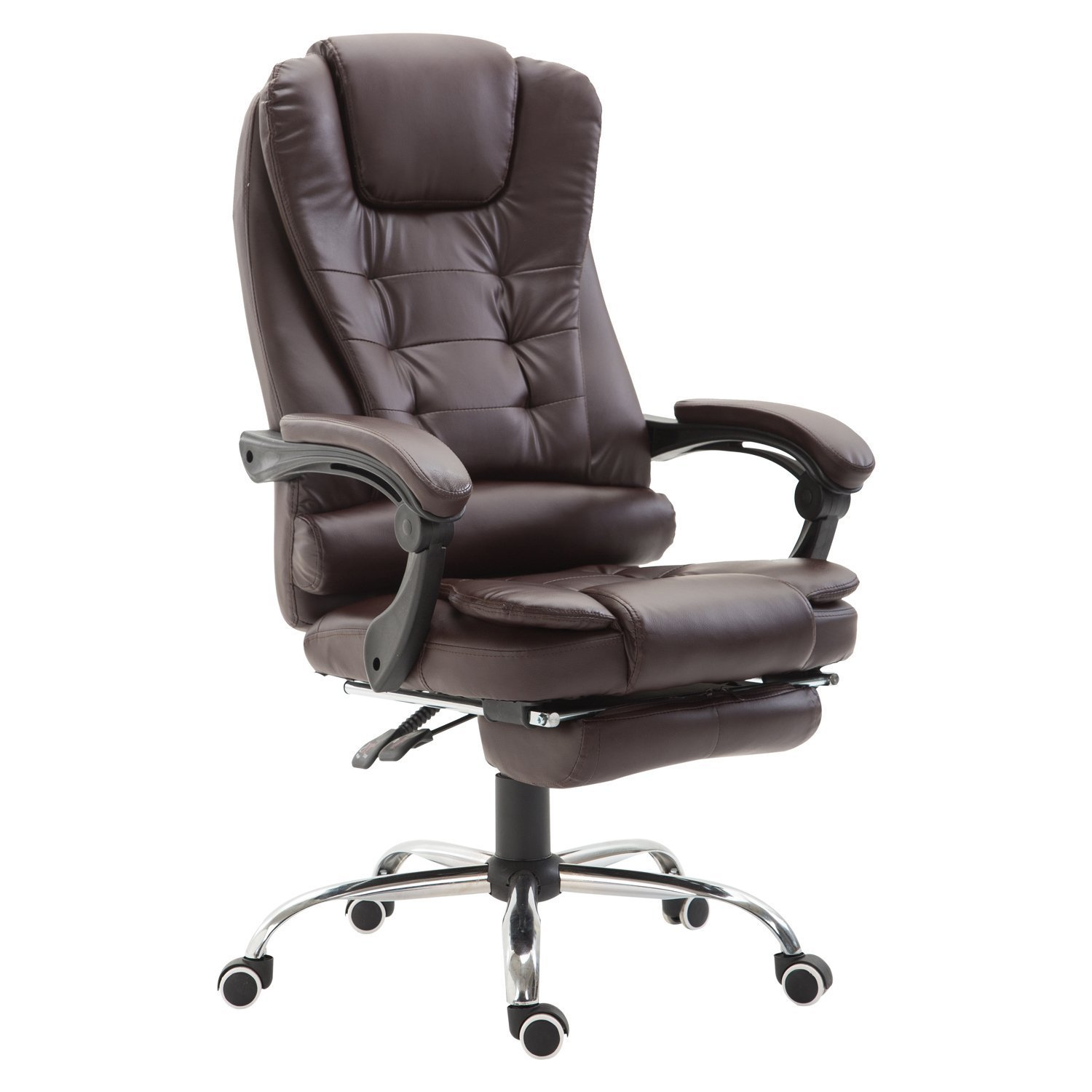 HomCom Reclining PU Leather Executive Home Office Chair with Footrest - Dark Brown by HOMCOM