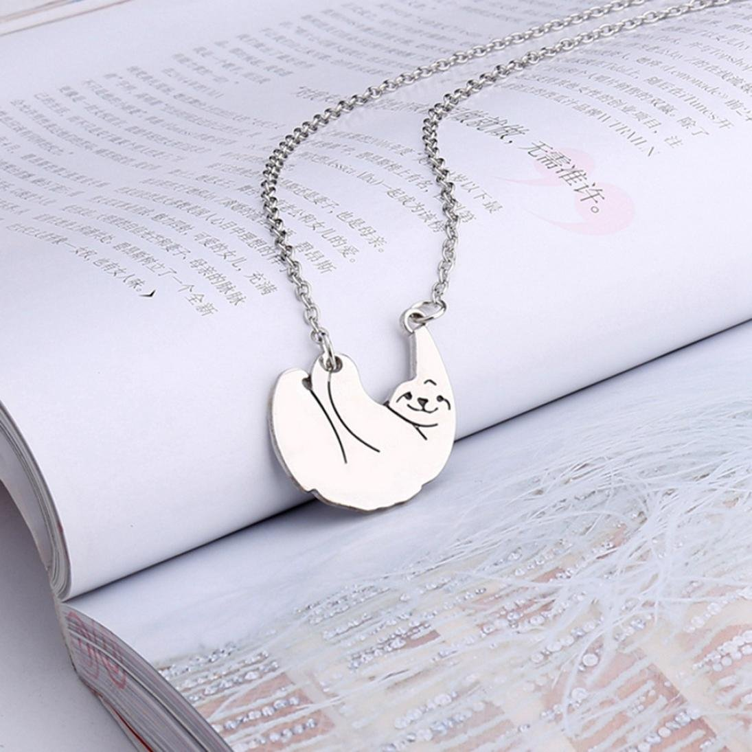 LLguz Simple Women Fashionable Creative Personally Sloth Necklace Small Lazy Person Pendant Necklace Jewelry (Silver)