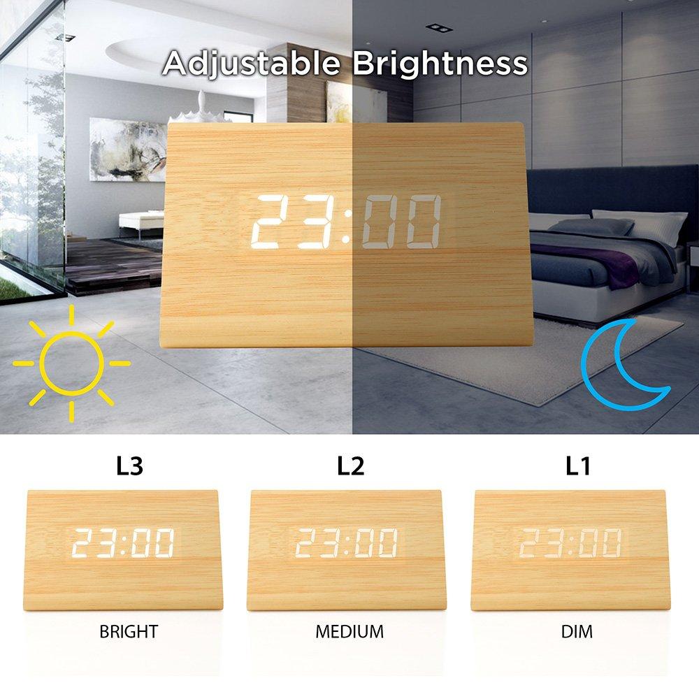 2019 New Version LED Alarm Digital Desk Clock 3 Levels Adjustable Brightness 3 Groups of Alarm Time Oct17 Wooden Wood Clock Bamboo White Light Displays Time Date Temperature