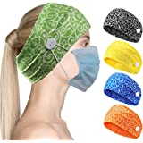 CGTL Wide Headband with Buttons for Face Masks and Covers Stretchy Elastic Floral Turban Headwrap Hair Band 2 Pack Green