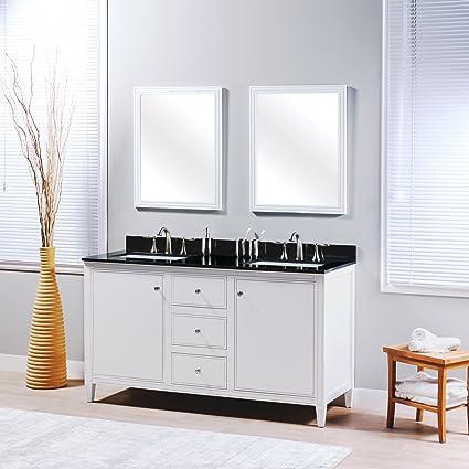 MAYKKE Cecelia 60u0026quot; Bathroom Vanity Set In Birch Wood White Finish |  Modern Double Floor