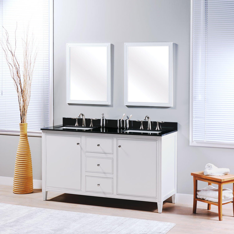 MAYKKE Cecelia 60'' Bathroom Vanity Set in Birch Wood White Finish | Modern Double Floor Mount Cabinet with Countertop, Backsplash in Black Granite and Ceramic Undermount Sink in White | YSA1336001
