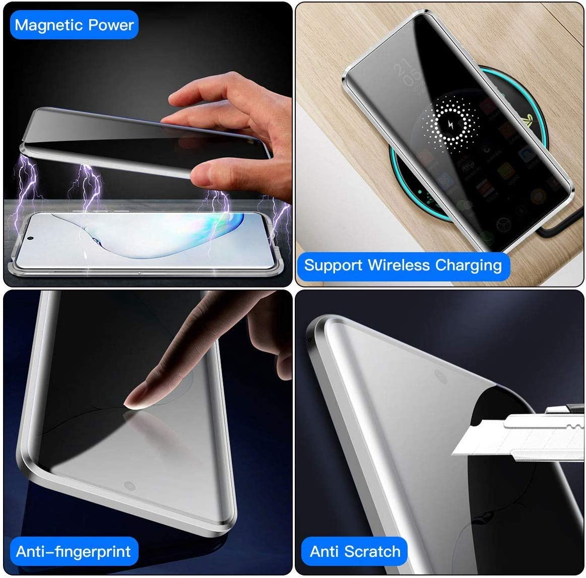 Case for Samsung Galaxy S20 Ultra Adsorption Magnetic Metal Bumper Cover Transparent Tempered Glass Anti-Scratch Case Thin 360 Degree Fully Body Protective Case,Black Integrated Camera Lens Protector