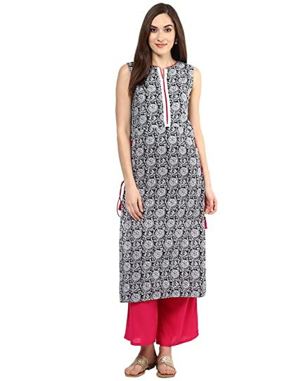 Jaipur Kurti Black Block Print Kurta With Rani Palazzo  Set(JKPLZ2812_Black_Small)