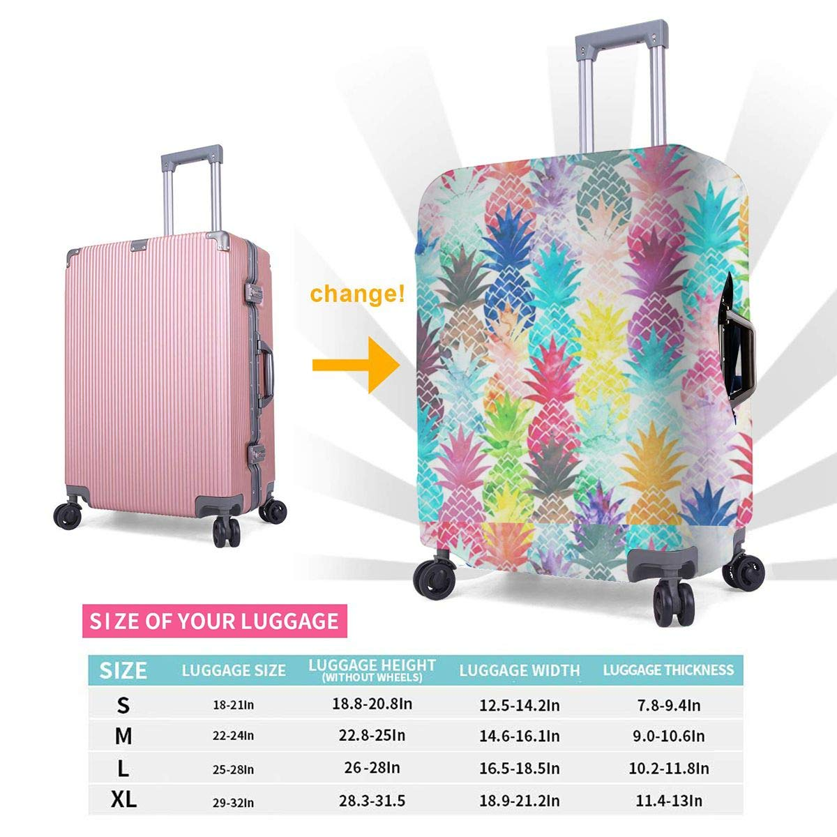 Pineapple Printed Business Luggage Protector Travel Baggage Suitcase Cover 4 Size