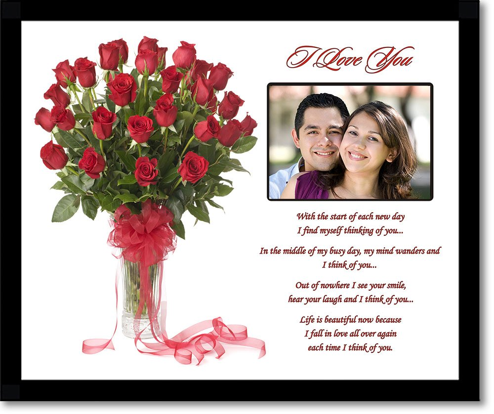 Best Gift For New Wife Part - 35: Amazon.com : I Love You Gift For Wife, Husband, Girlfriend, Boyfriend -  Love Poem With Rose Design - Add Photo : Led Household Light Bulbs : Patio,  ...