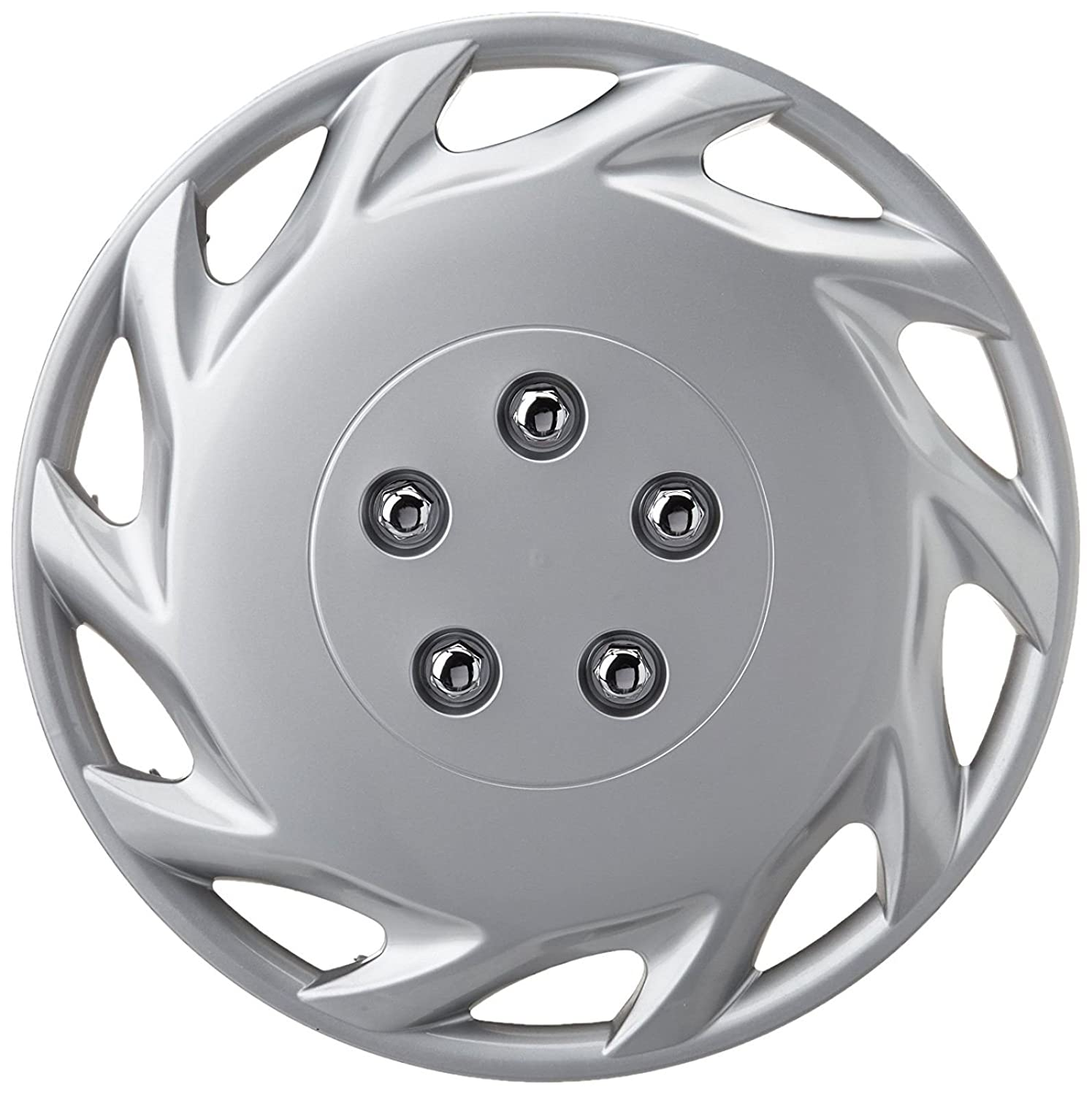 XtremeAuto/® 14 Classic Silver Car Wheel Trim Hub Cap Covers Turbine Style Includes Chrome Valve Caps and Silver Cable Ties