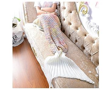Sirena cola Manta de punto (Saco de dormir Blanket - Manta para My Little Pony Mujer 80*180cm Weiß: Amazon.es: Hogar