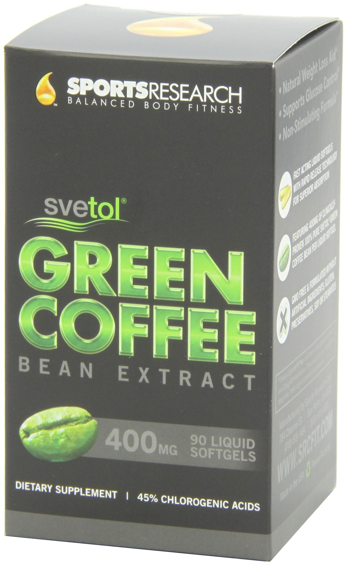 SVETOL Green Coffee Bean Extract, 90 Liquid Softgels with 400mg of Clinically-Proven Svetol Per Cap by Sports Research (Image #12)