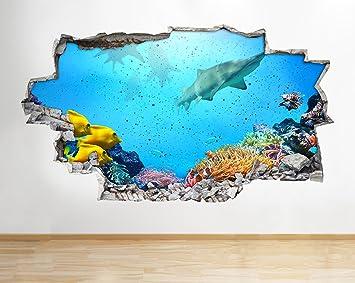 A088 - Adhesivo decorativo para pared de arrecife de coral de tiburón para acuario con diseño de ...