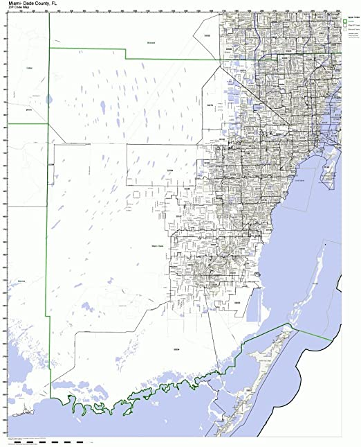 Miami Dade County Zip Code Map Amazon.com: Working Maps Miami Dade County, Florida FL Zip Code