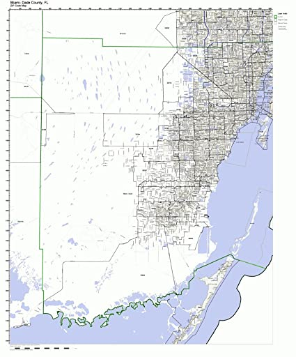 Amazon.com: Miami-Dade County, Florida FL ZIP Code Map Not Laminated ...