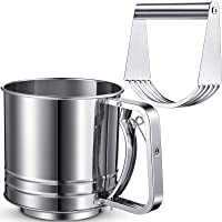 2 Pieces Stainless Steel Flour Sifter Rotary Hand Crank Sifter Handheld Powder Flour Sugar Sifter with Pastry Cutter…