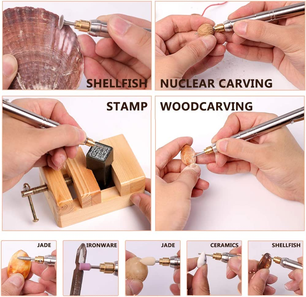 ZYYQ Small Hand Held Electric Grinder,Mini Engraving Machine,Rechargeable Lithium Battery Electric Grinder Pen,Used for Polishing, Punching, Micro Carving, Egg Carving, Beeswax,A B