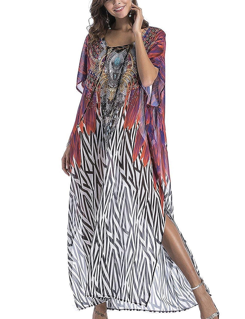 b981224fe14b8 batwing sleeve,Rhinestone ,V Neck ,Long Caftan,Print Chiffon,Turkish Dress,Beach  Kaftan Kaftan Cover Up Dresses,Oversized Beach Dress,V Neck Beach Dress ...