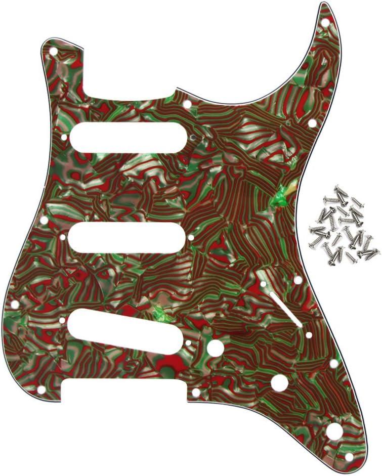 IKN–FD St estilo SSS golpeador de guitarra placa de Scratch, 11orificios con 25tornillos, 3ply brown-green shell