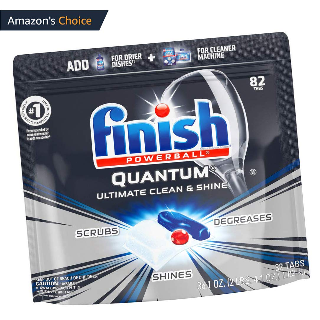 Finish Quantum Dishwasher Detergent, Ultimate Clean & Shine, 82 Dish Tabs