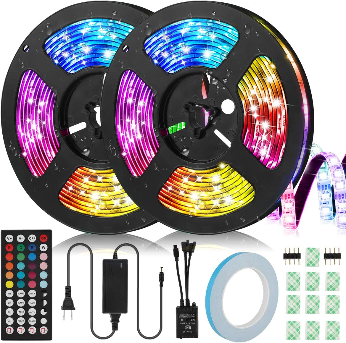 LED Strip Lights, IWVMEM RGB 32.8ft Flexible LED Strips, IP65 Waterproof, Music Sync Color Changing Light Kit, SMD 5050 LED Tape Lights with 44-Key IR Remote Control, for Home Party Decoration