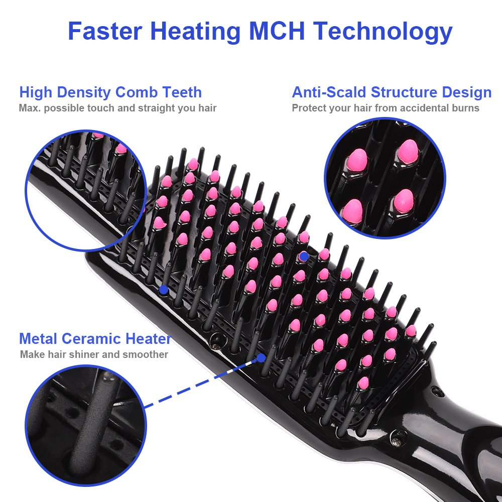Hair Straightener Brush, OKWINT Ionic Straightening Brush with Anti-Scald Feature,Adjustable Temperatures, Auto-off Function by OKWINT (Image #3)