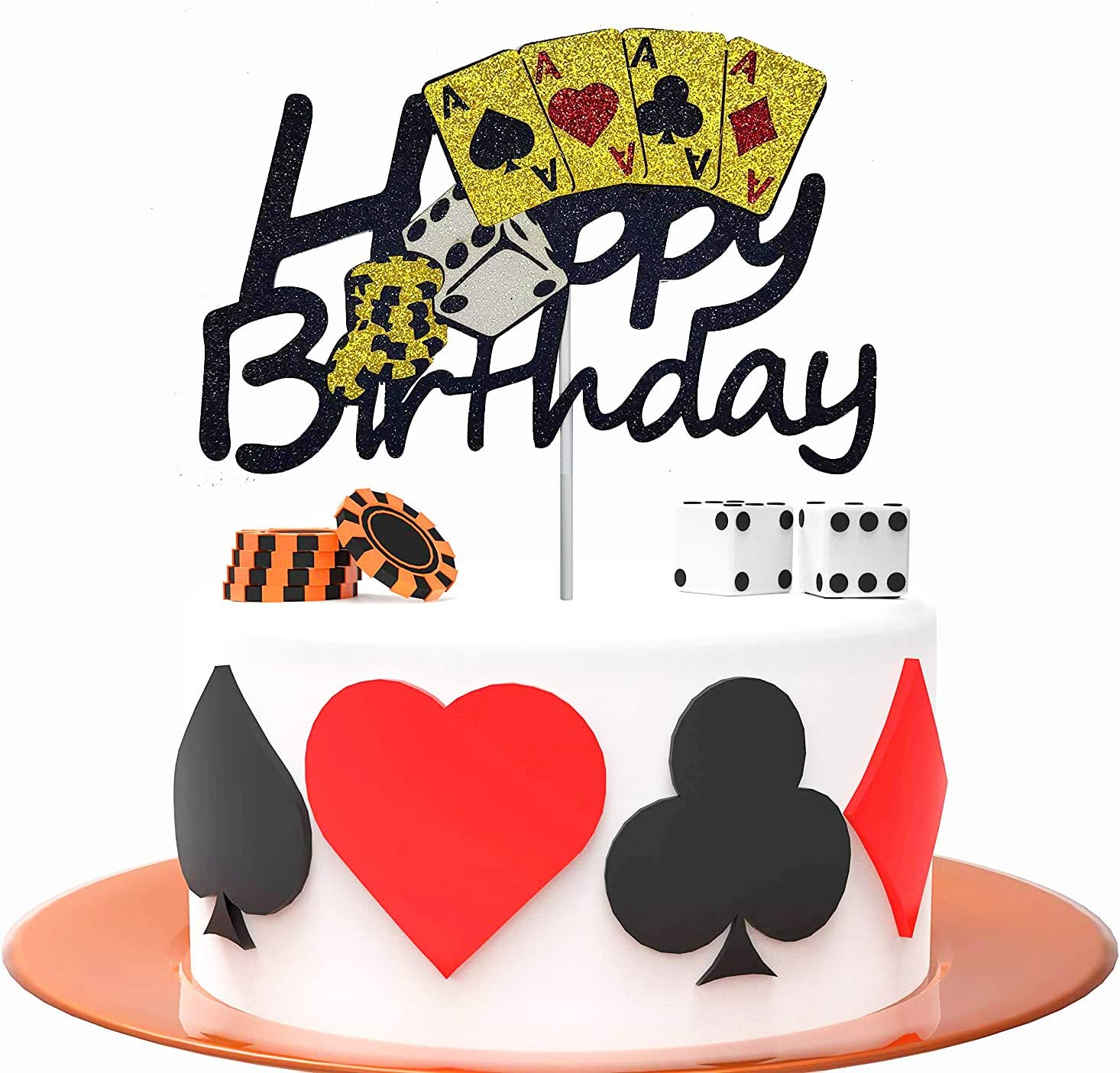 HAKPUOTR Poker Cake Topper Casino Themed Birthday Party Decoration Gambling Themed Birthday Party Supplies