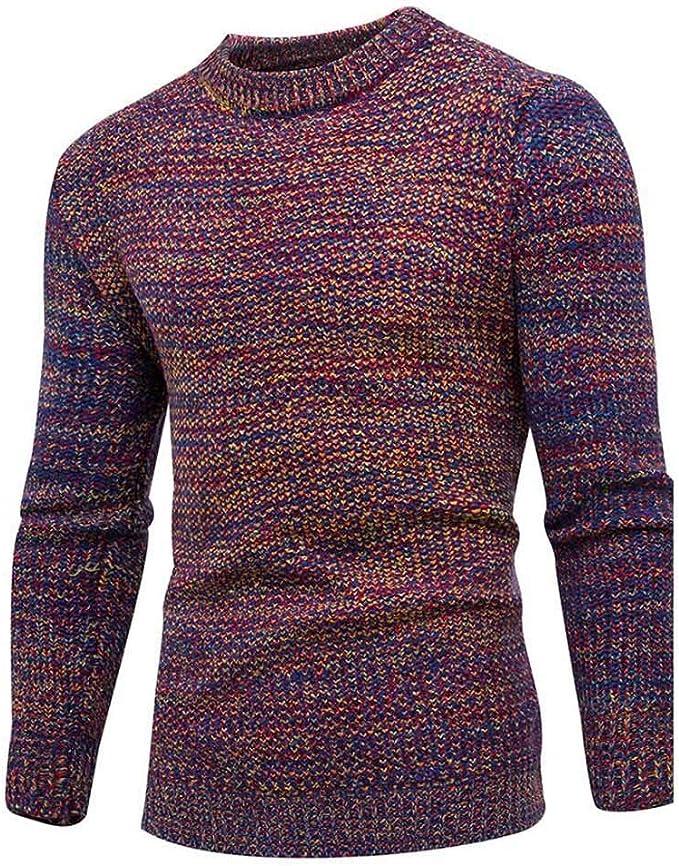 Herren Winter Warm Strickpullover Rundhals-Pullover Patchwork Strickwaren Tops