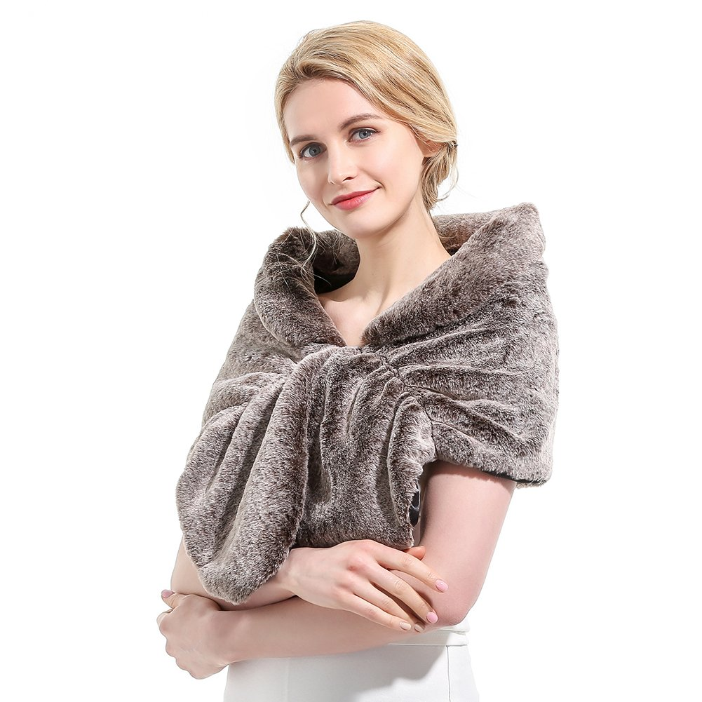 Roniky Womens Winter Faux Fur Wedding Shawl Wrap Stole Shrug Bridal Wedding Cover Up (L, Frost brown)