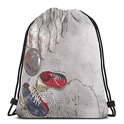 91577b9c7ef6 Amazon.com | Printed Drawstring Backpacks Bags, Bowling Shoes Pins ...
