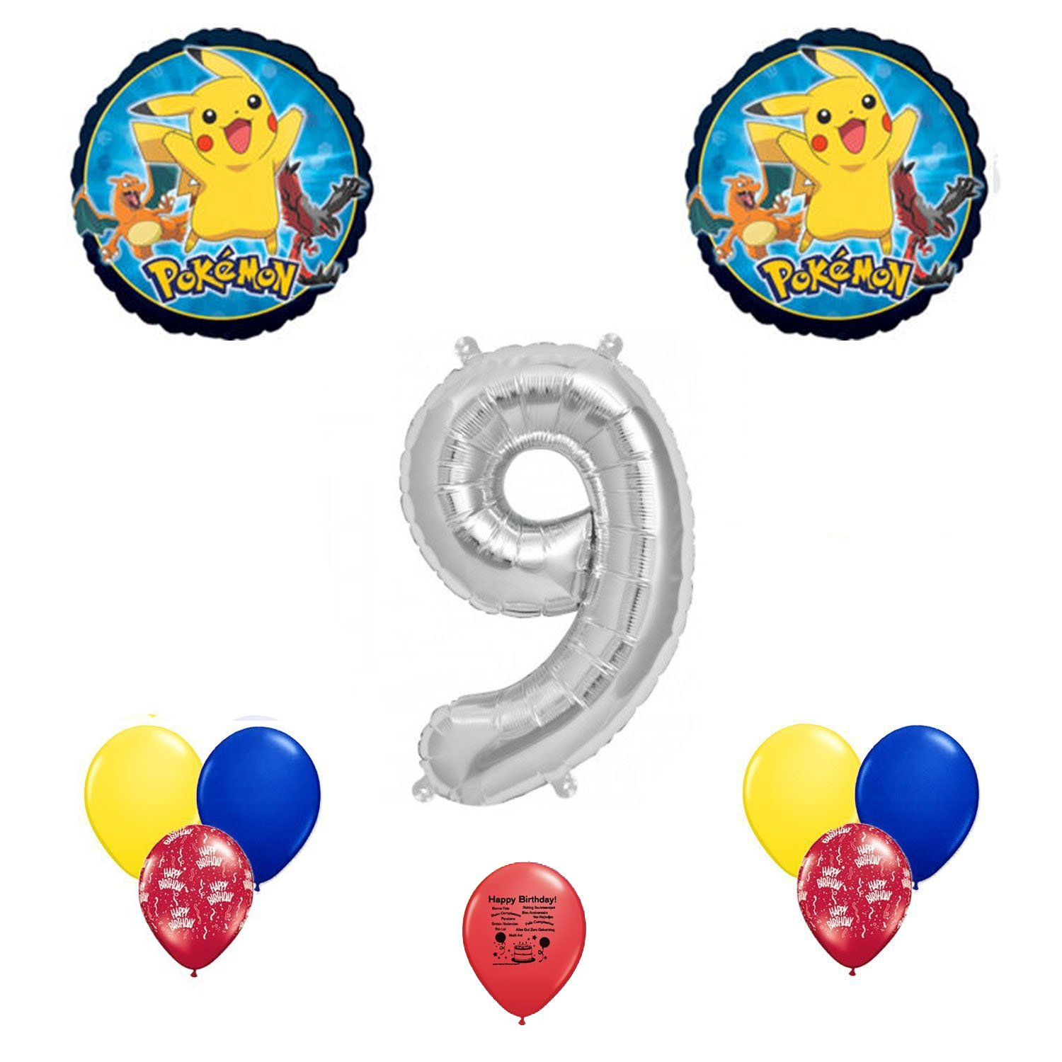 Pokemon go happy 9th birthday balloon decoration kit for Balloon decoration kits