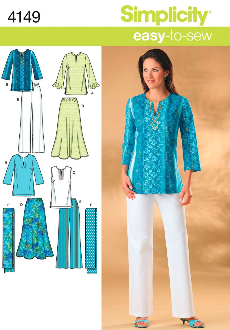 Simplicity Easy to Sew Pattern 4149 Misses Skirt, Pants, Tunic Top and Scarf Sizes 10-12-17-16-18 Simplicity Creative Patterns
