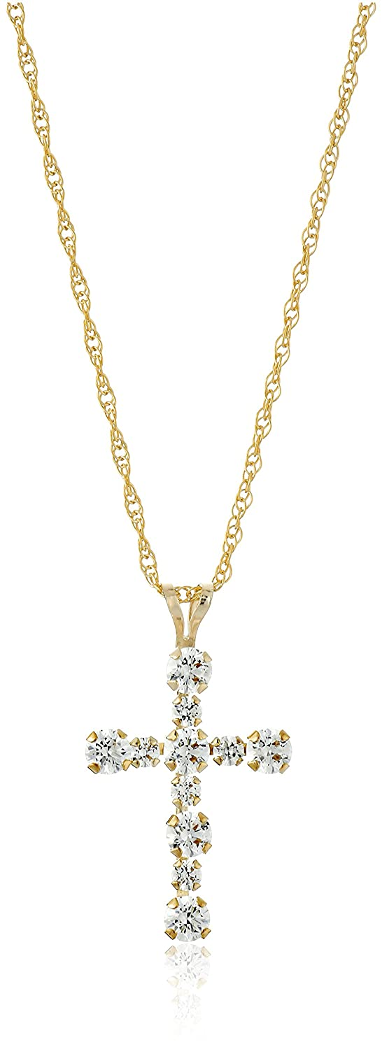 10k Gold Swarovski Elements RD Cross Pendant Necklace (1/2 cttw) Amazon Collection 69568/10Y/ZZ/STD