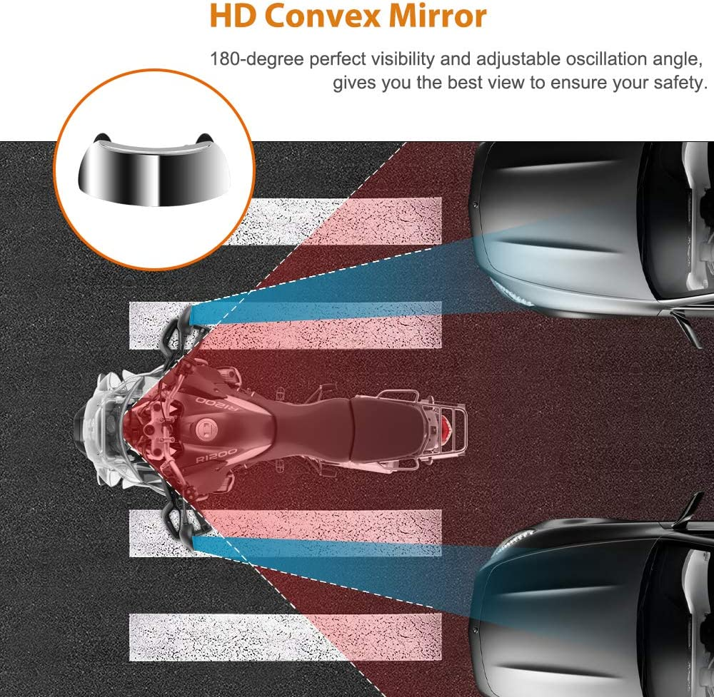 LKV Motorcycle Rearview Mirrors 180 Degree Safety Wide-angle Lens Rear View Blind Spot Mirror Mounted on Windscreen for Universal Motorcycle