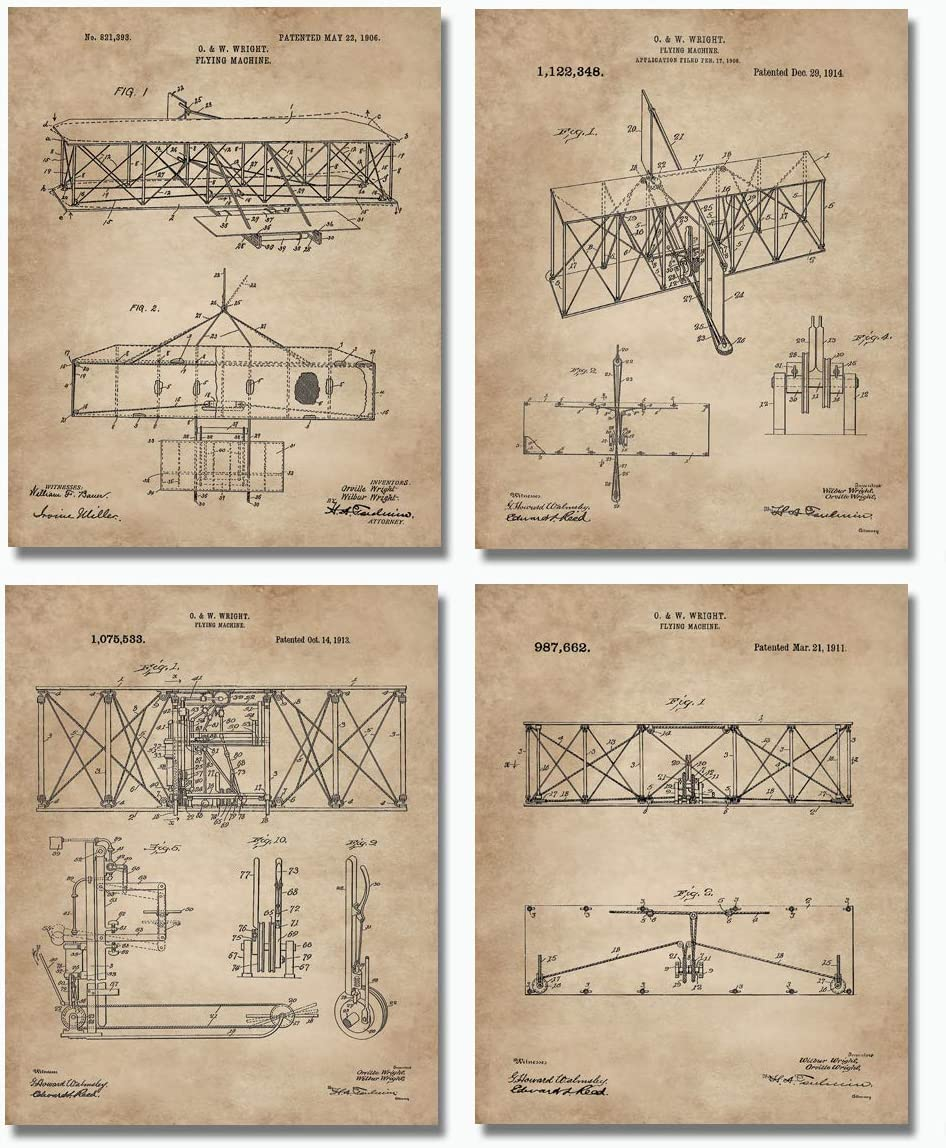 "Wright Brothers Patent Prints (8""x10"") Set of 4 - Great Gift For Aviation Lovers - Airplane Wall Art Decor"